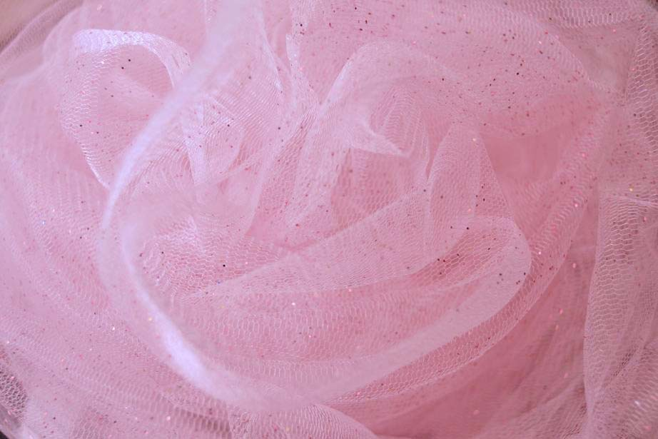 Tulle paillettes fines - rose 12